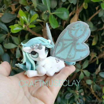 Mint White Baby Blue Butterfly fairy pony//Unicorn// polymer clay figure//Gifts for Her//Cake topper//Keepsake