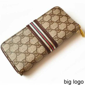 GUCCI Women's Long Wallet Double G Letter Plaid Zip Clutch Khaki big G