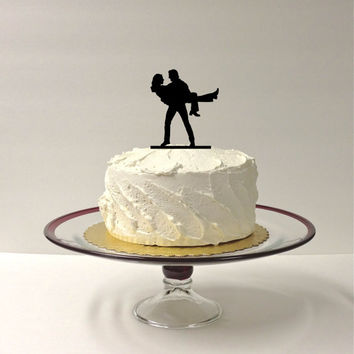 GROOM HOLDING BRIDE Silhouette Wedding Cake Topper Bride and Groom Dancing Silhouette Wedding Cake Topper Mr and Mrs Cake Topper