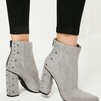 Missguided - Grey Star Stud Heeled Ankle Boots