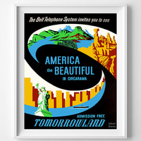 Vintage Disneyland, Poster, Print, America the Beautiful, Disney, Tomorrowland, Reproduction, Restored, Restoration [No 1270]