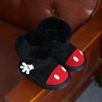 Winter Childrens Boots Cute Cartoon Girls Boots Baby Toddler Black/Gray Snow Boots Fashion Warm Girls Shoes