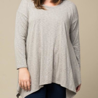 Flowy Taupe Long Sleeve Top