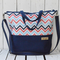 Chevron Diaper bag Zippered bag Sailor navy crossbody bag Beach bag Weekender bag