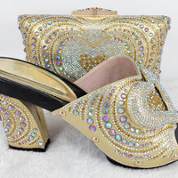 golden Shoes and Bag To Match Italian African Shoe and Bag Set Women Shoe and Bag Set for Parties Italian Matching Shoe and Bags