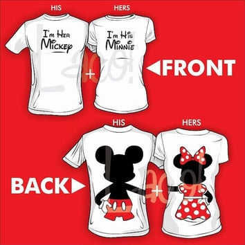 "2 Front ""I'm her Mickey"" and ""I'm his Minnie"" Back Full body Hugging Disney Matching Couple Love Screenprinted White T-shirts"