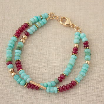 Gold Filled Multi Strand Opal Bracelet