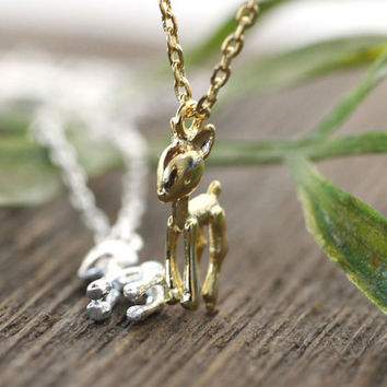 Tiny Bambi Fawn charm pendant Necklace in 2 colors, N0243G