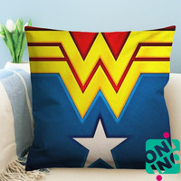 Wonder Woman Logo Zippered Pillow Case, Cushion Case, Pillow case