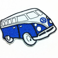 High Quality Blue Van Classic Car (4.5 x 7 cm) Embroidered Iron on Applique Patch (X)