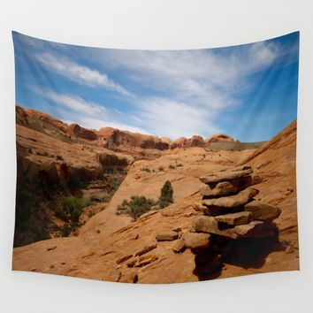 Desert Cairn Wall Tapestry by Lindsey Jennings Photography