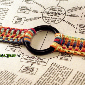 Rainbow Hemp BDSM Collar, Submissive Collar, Vegan BDSM Collar, Eco Friendly Kink, Fetish Collar, Macrame Hemp Rainbow Bondage Collar