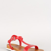 Bamboo Jelly T-Strap Footbed Flat Sandal