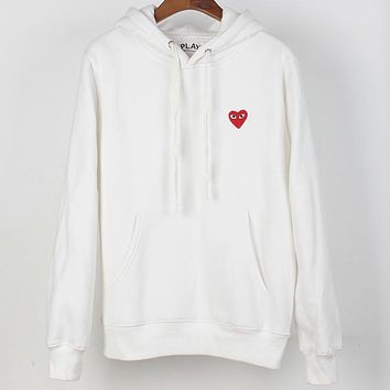PLAY tide brand simple classic logo loose plus velvet hoodie White