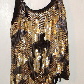 Evening sequence blouse silk with gold beads