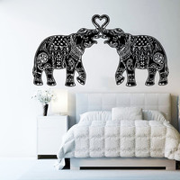 Wall Decal Vinyl Sticker Decals Art Home Decor Design Murals Indian Elephant Floral Patterns Mandala Tribal Love Ganesh Bedroom Dorm AN14