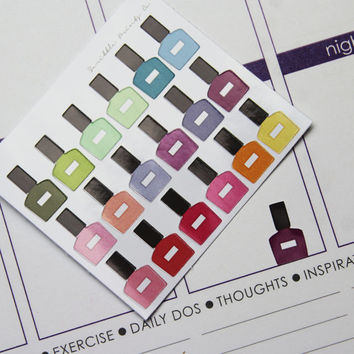 18 MINI Nail Polish Die-Cut Stickers // (Perfect for Erin Condren Life Planners)