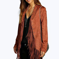 Long-Sleeve Fringed Suede Leather Coat