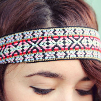 The Indie Printed Headband thick boho style elastic by Murabelle