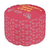 Man Cave Football Sports Team Customize Red Gold Pouf