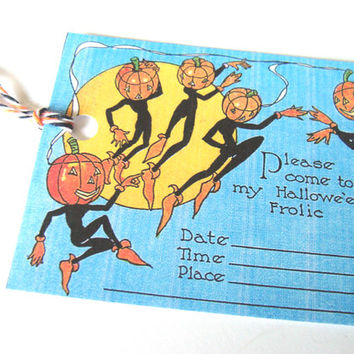 Pumpkin Head Goblin Vintage Style Halloween Tags Set of 6 Party Invitation