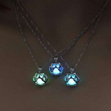 Glow In The Dark Dog Paw Print Charm Pendant Necklace