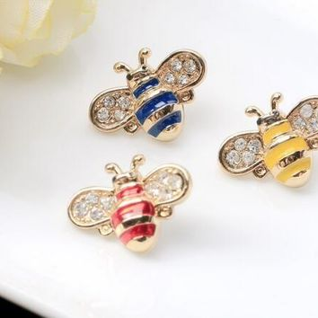 Lovely insect bee brooches new design multicolor crystal cute bee brooches pins trendy brooch jewelry for unisex accessories