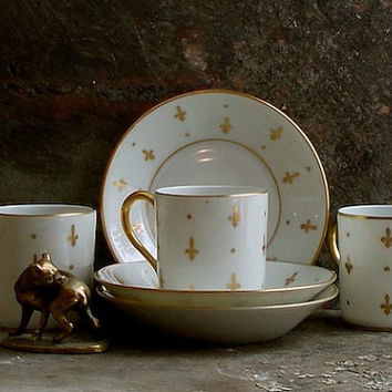Vintage Limoges Demitasse Cups and Saucers - Gold and White - French Espresso Coffee - Fleur de Lis - Hand Painted - Cottage Decor
