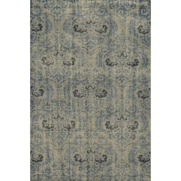 Flourish Blue Antiqued Washed Area Rug