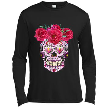 Pink Flowers Sugar Skull Day Of The Dead Halloween Long Sleeve Moisture Absorbing Shirt