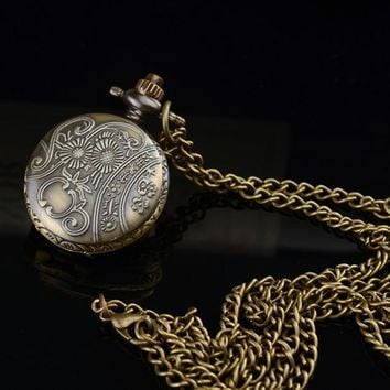 Alloy Antique Numbertterfly Pocket Watch With Chain