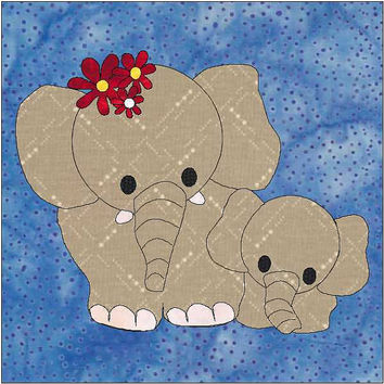 Elephant Pattern - Elephant Applique Block - Quilt Appliqué - Instant Download - Block Pattern - Quilt Pattern - Quilt Block - Block Pattern