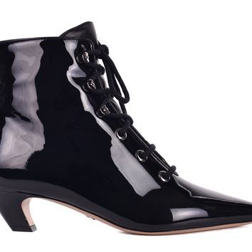 Dior Womens I-Dior Black Patent Leather Lace Up Boots