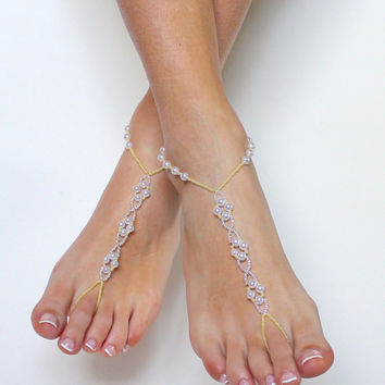 Pale Yellow Beads And Pearl Barefoot Sandals