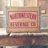 Vintage Wood Crate, Northwestern Beverage Co Crate, Chicago, Illinois Wood Soda Crate, Vinyl Record Storage