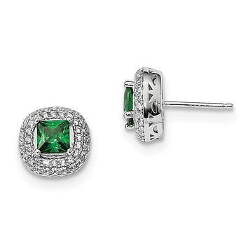 Sterling Silver 11mm White And Green CZ Halo Post Earrings