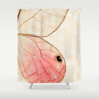 Pink Glasswing 1 Shower Curtain by Erin Johnson