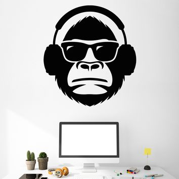 Vinyl Wall Decal Cool Monkey Head In Sunglasses Musical Headphones Stickers Unique Gift (2055ig)