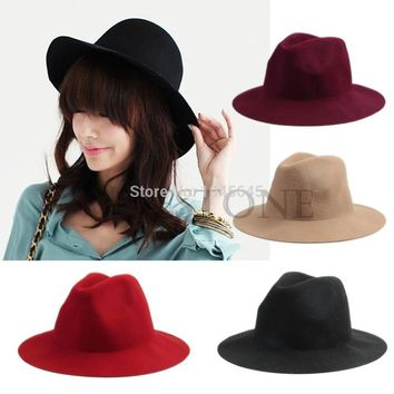 Fashion Women Vintage Wide Brim Wool Felt Hat Classical Flop Bowler Fedora Cap