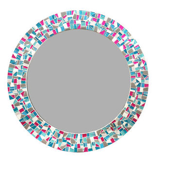 Large Round Mirror, Mosaic Wall Mirror, Pink Gray Aqua Home Decor