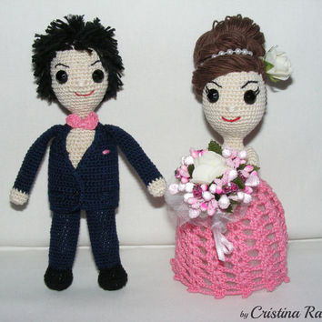 Bride and Groom, crochet Wedding figurines, amigurumi dolls, wedding gift toy, pink gown blue suit doll Groom Bride, special gifts crochet