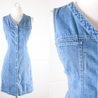 1990s Denim Dress / Vintage 90s Dress / Denim Mini Dress / Soft Grunge Dress / Blue Jean Dress / Denim Shift Dress / Minimalist Fashion