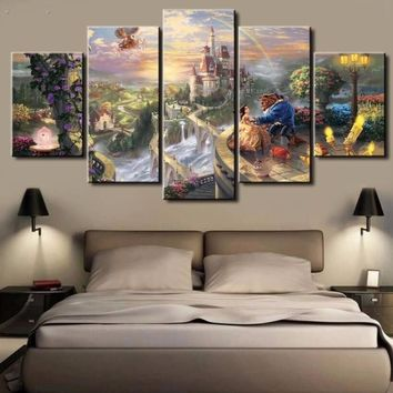 5 Panels Hd Printed Beauty And The Beast Movie Wall Art Painting
