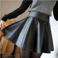 Free Shipping High Waist Skirts Womens Skirt Women Caual Elastic Waist Mini Pleated Leather Skirts Female saias femininas A2