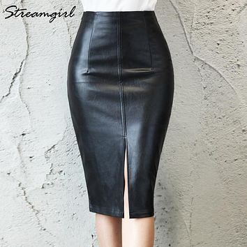 Faux Leather Skirt Women S - Plus Size Midi PU Pencil Skirts Women's Skirts