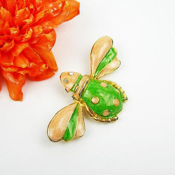 Vintage 80s Bee Brooch/Pendant, Swirl Enameling in Peach and Green, Rhinestone Eyes, Collectible Figural Insect Bug Jewelry, Spring Gift