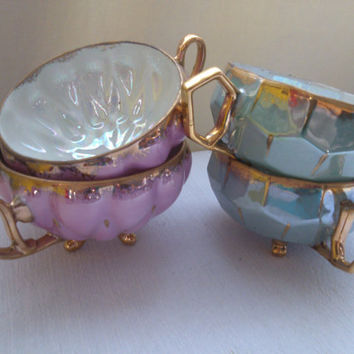 Set of 4 three footed fine China Lustreware Tea Cups Royal sealy Mother of Pearl Fine Bone China