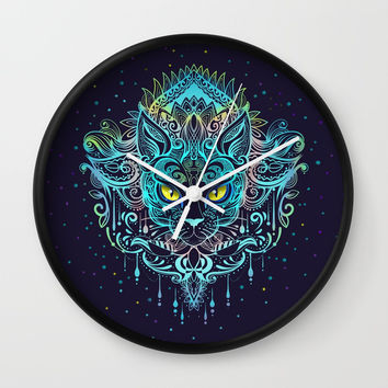 Cat Mandala Wall Clock by printapix