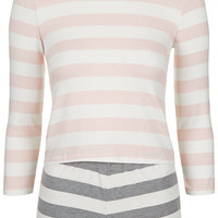 Contrast Stripe Pyjama Set - Blush