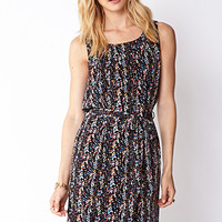 Abstract Belted Shift Dress